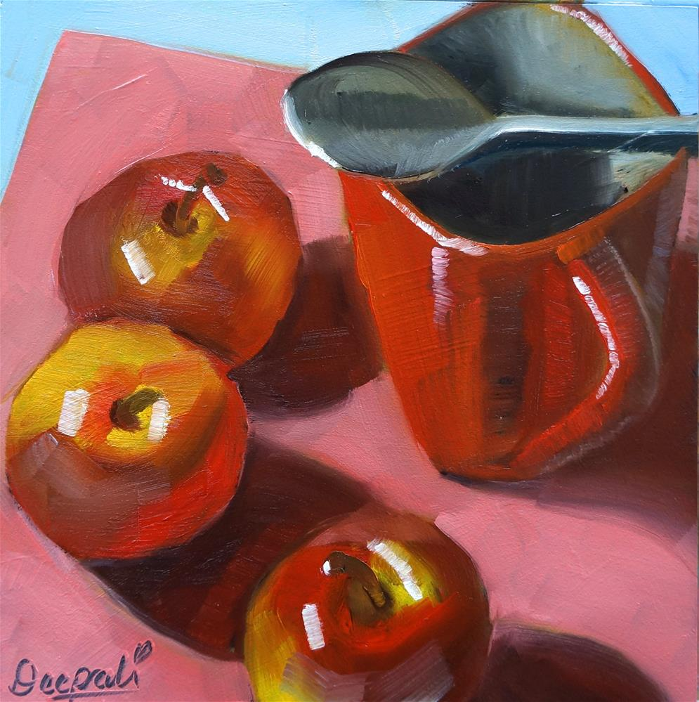 """Apples with Cup"" original fine art by Dipali Rabadiya"