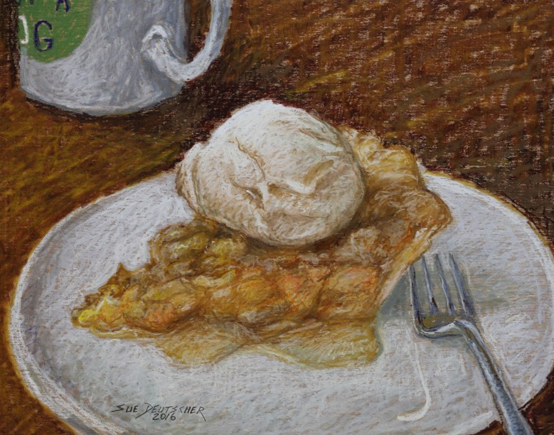 """Peach Pie with Ice Cream"" original fine art by Sue Deutscher"