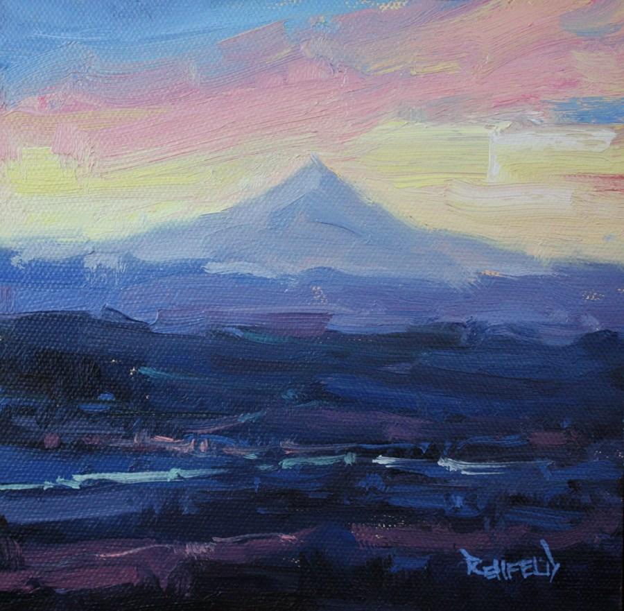 """Mt Hood From Portland"" original fine art by Cathleen Rehfeld"