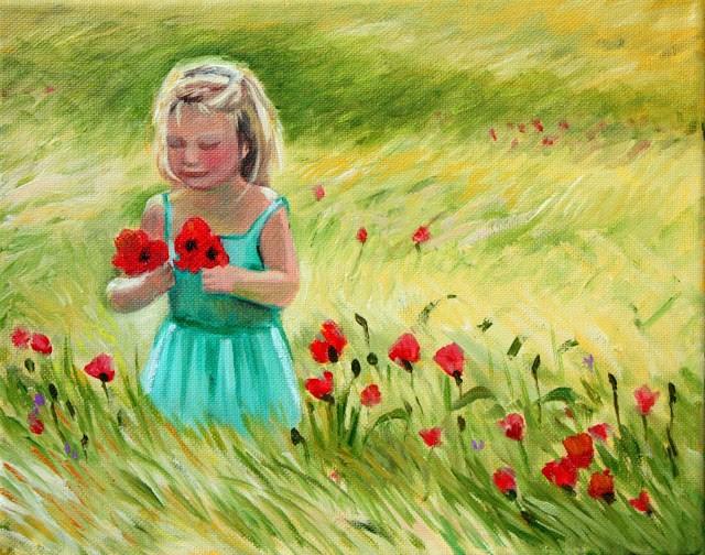 """Towhead picking poppies"" original fine art by Hilary J. England"