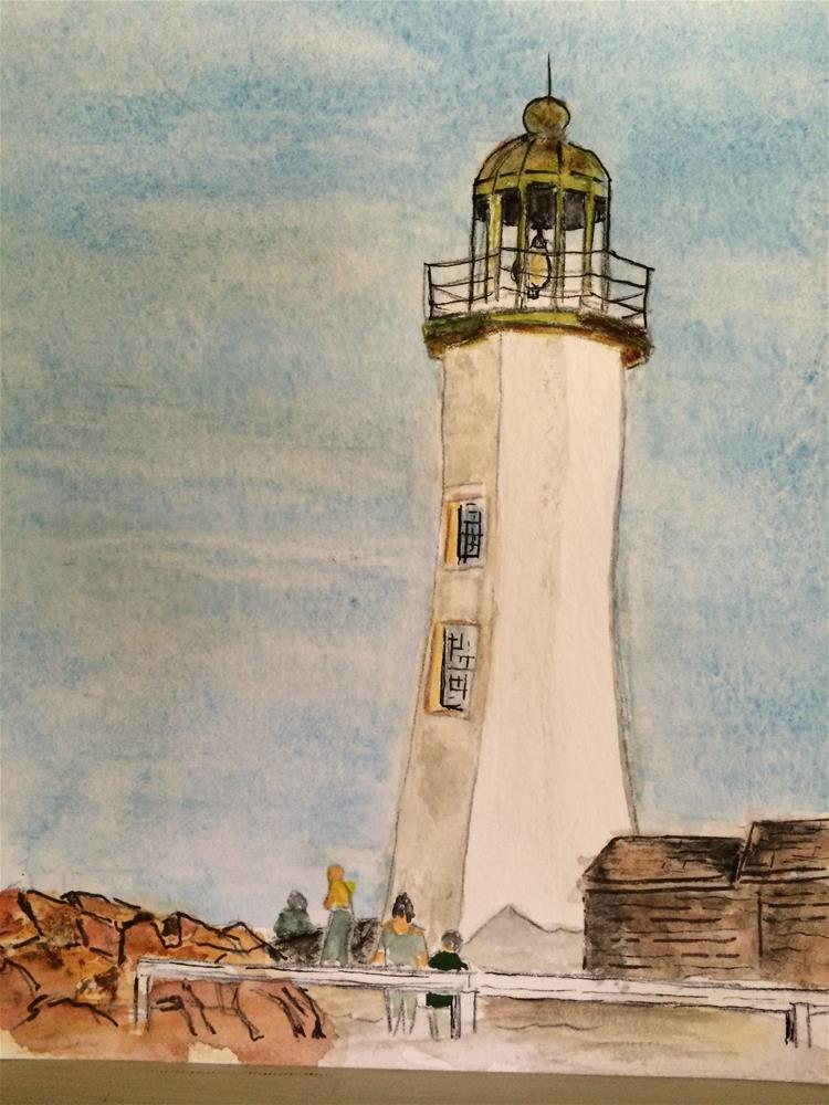 """Scituate Light  watercolor  9 x 6"" original fine art by Nancy Beard"