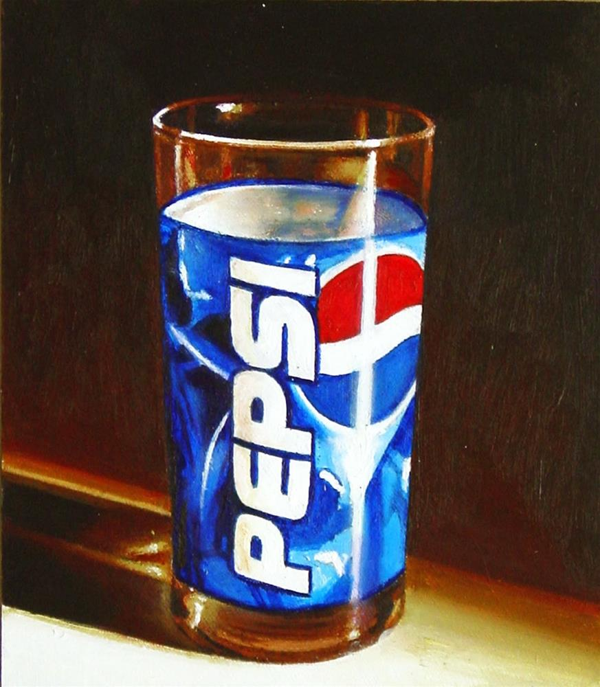 """Pepsi- Still Life Painting Of Pepsi Cola Glass"" original fine art by Gerard Boersma"