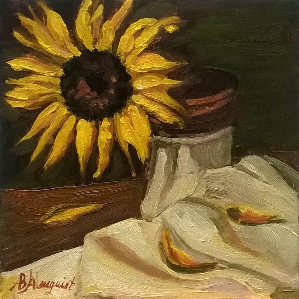 """Sunflower on White Cloth"" original fine art by Adriana B. Almquist"