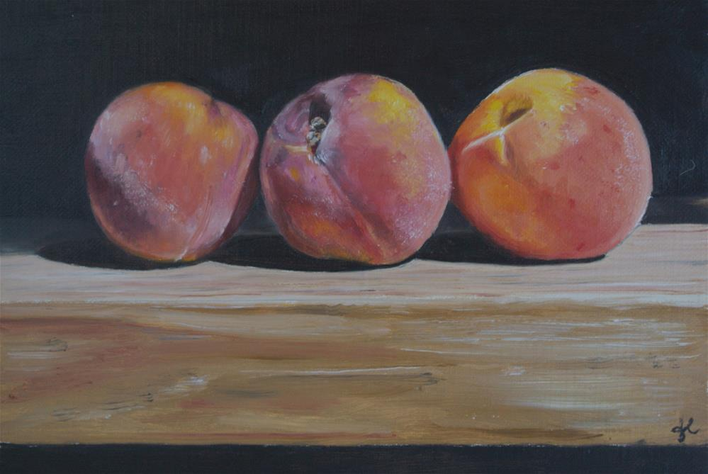 """Three Peaches"" original fine art by James Coates"