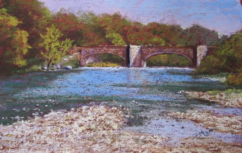 """Bridge over the river Lune"" original fine art by Ruth Mann"