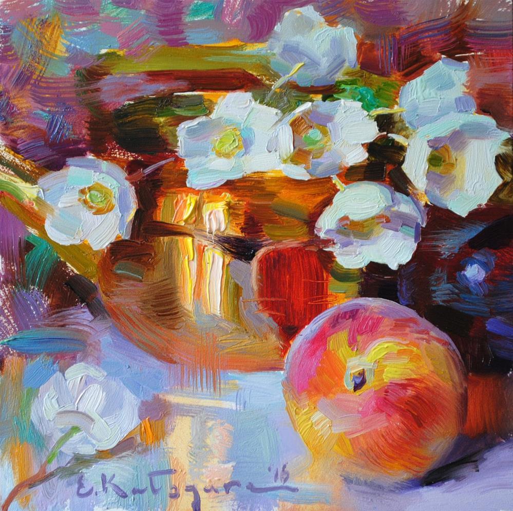 """Copper, Peach and Flowers"" original fine art by Elena Katsyura"