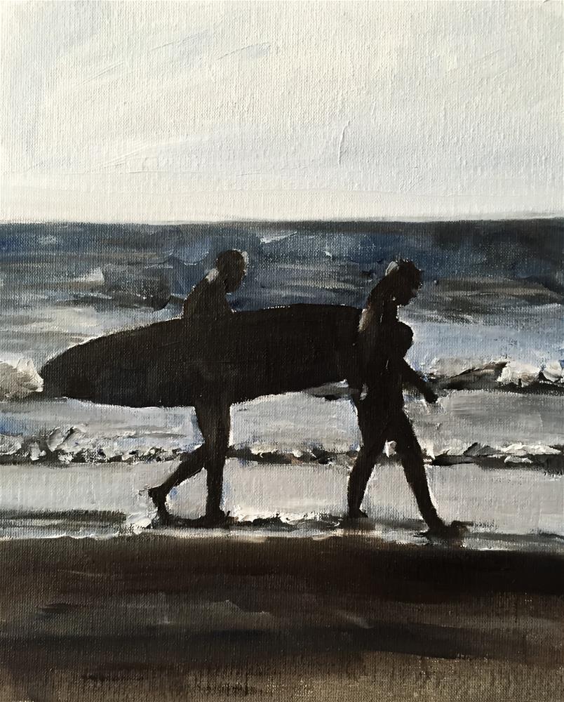 """""""Surfers"""" original fine art by James Coates"""