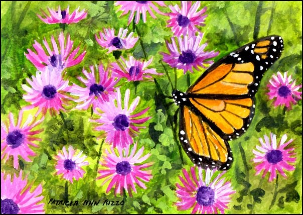 """Monarch in the Purple Daisies"" original fine art by Patricia Ann Rizzo"