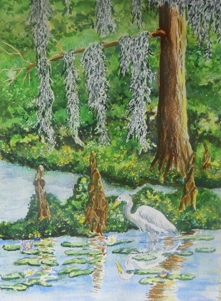 """Cypress Egret # 193"" original fine art by Jim Whiteside"