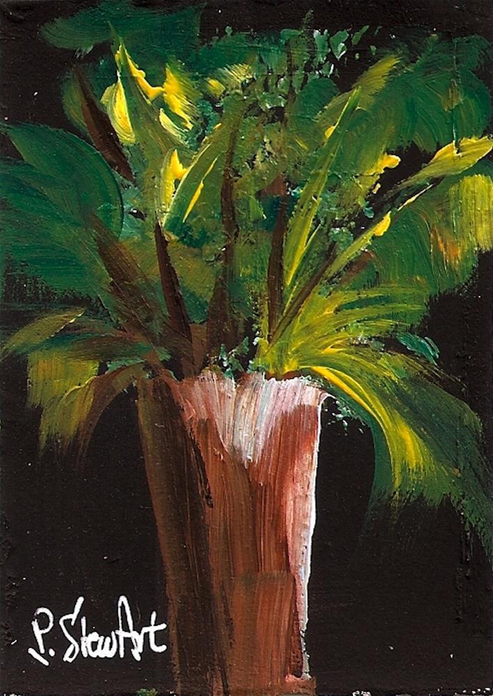 """ACEO Green Leaves in Wooden Vase Tropical Floral Arrangement, Original"" original fine art by Penny Lee StewArt"