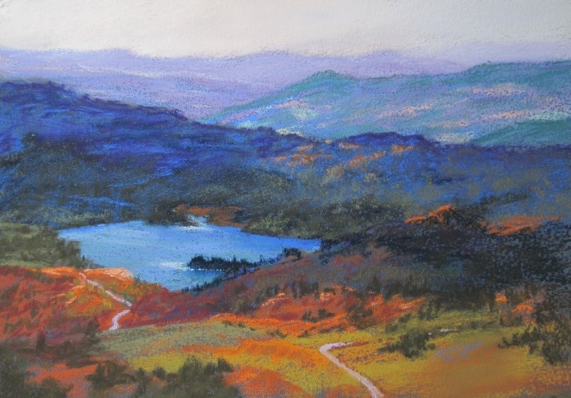 """Long view, Cyprus"" original fine art by Ruth Mann"
