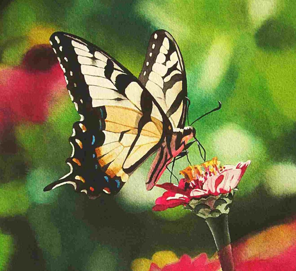 """Tiger Swallowtail"" original fine art by Jacqueline Gnott, whs"