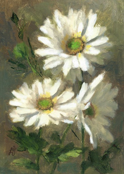 """Spray Mums in White"" original fine art by Linda Jacobus"