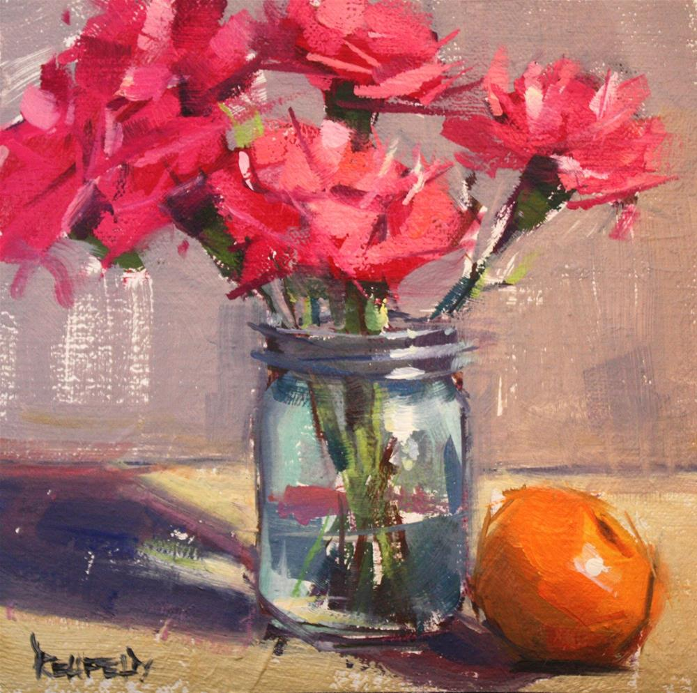 """Pink Flowers and Satsuma"" original fine art by Cathleen Rehfeld"