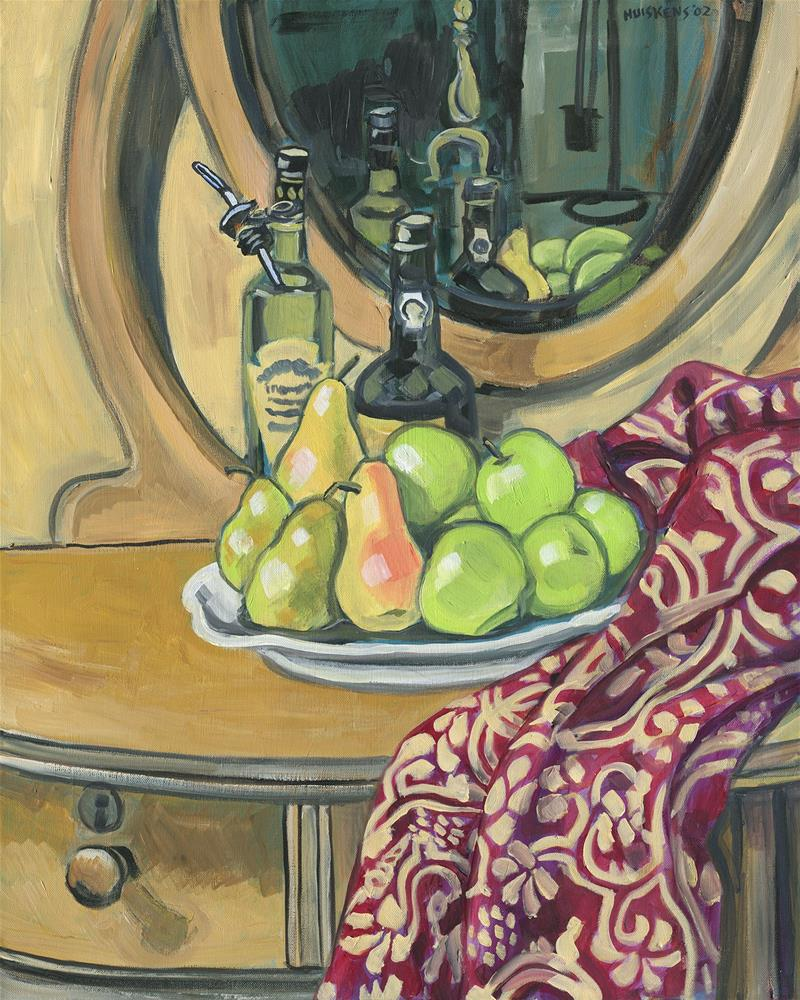 """Still Life With Apples, Pears And Bottles"" original fine art by Randal Huiskens"