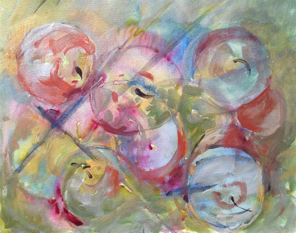 """""""Green Apples"""" original fine art by Lynne Schulte"""