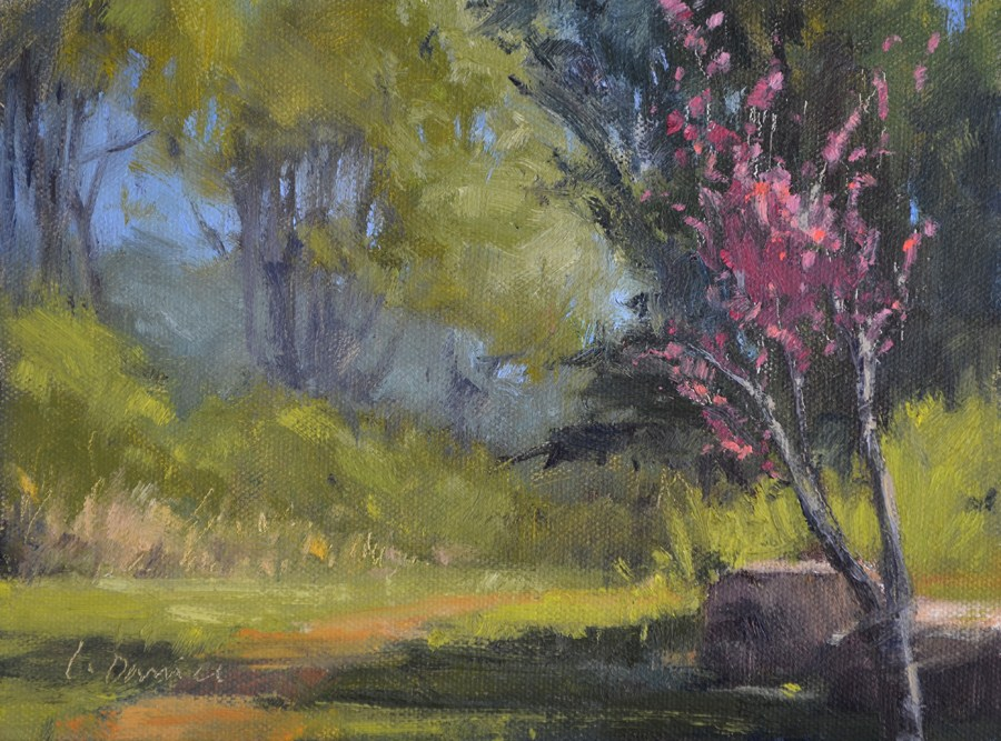 """Redbud Path"" original fine art by Laurel Daniel"