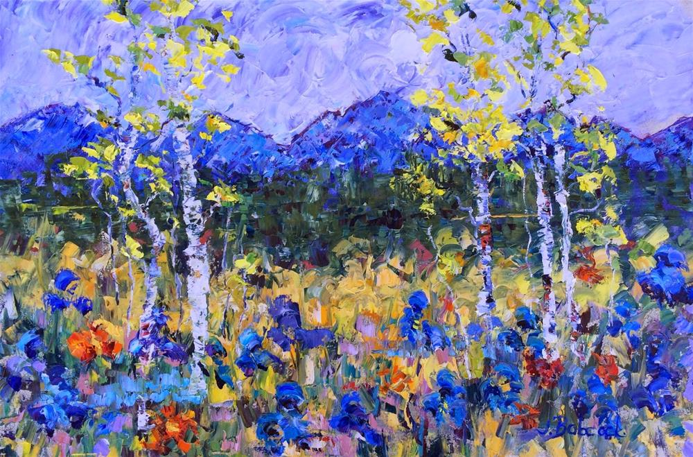 """""""Impressionism Aspen Tree Colorado Landscape Painting The Glory of Spring by Colorado Impressionist"""" original fine art by Judith Babcock"""