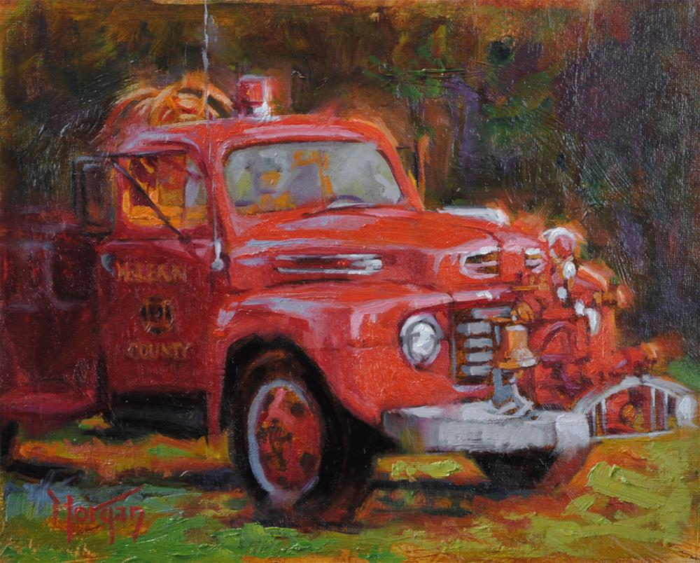"""Vintage Firetruck, McClean County, KY"" original fine art by Cecile W. Morgan"