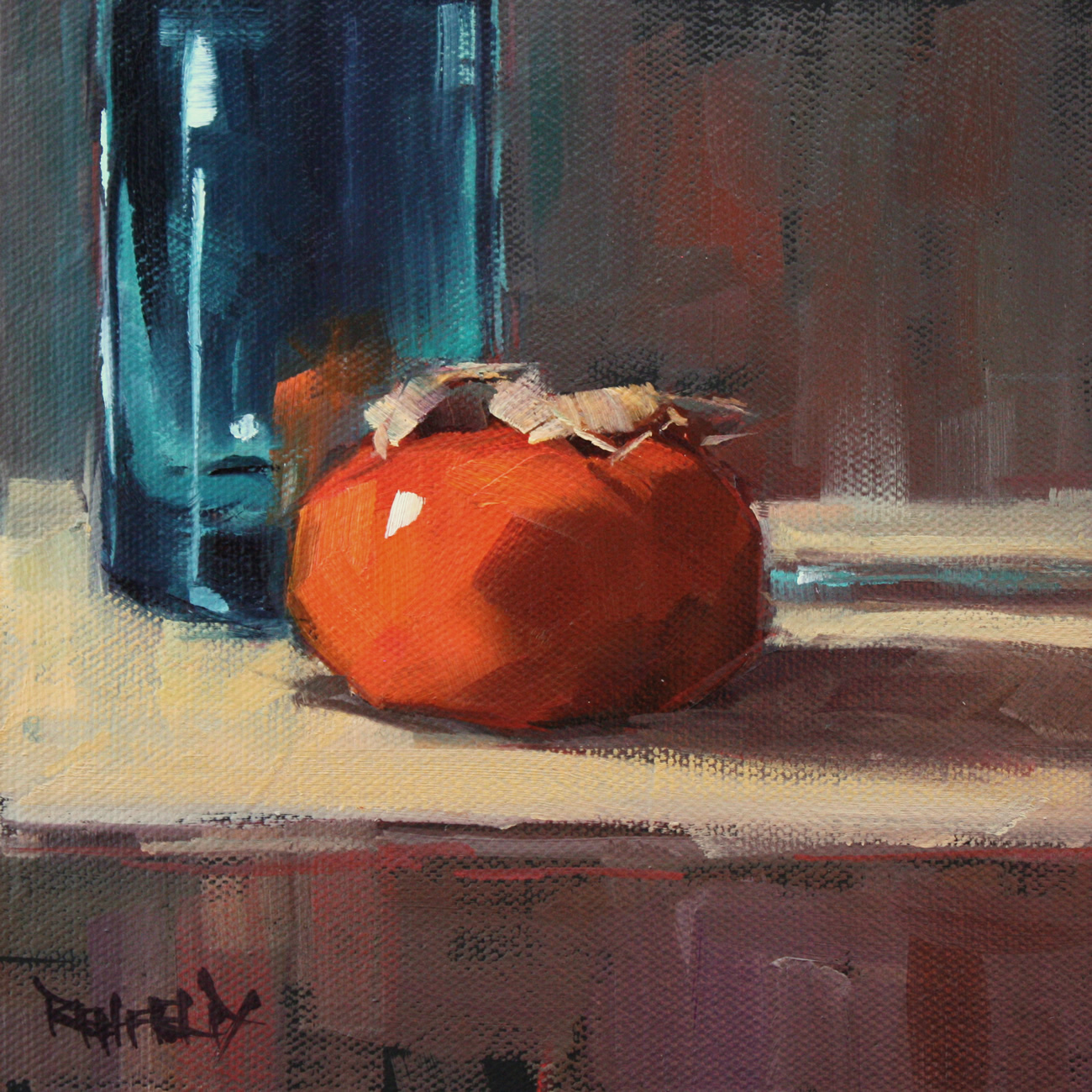 """Turquiose Light and Persimmon"" original fine art by Cathleen Rehfeld"