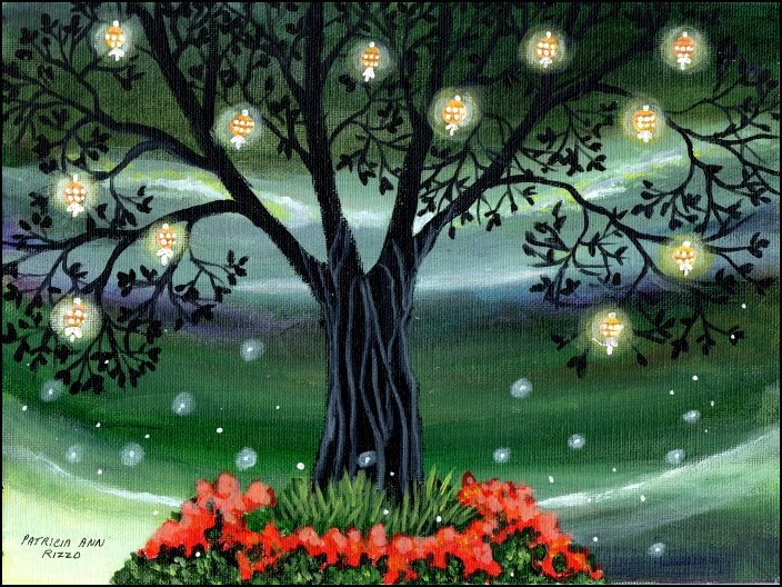 """The Magic Lantern Tree"" original fine art by Patricia Ann Rizzo"