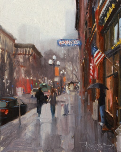"""Rooms 75 Cents  Seattle cityscape oil painting by Robin Weiss"" original fine art by Robin Weiss"