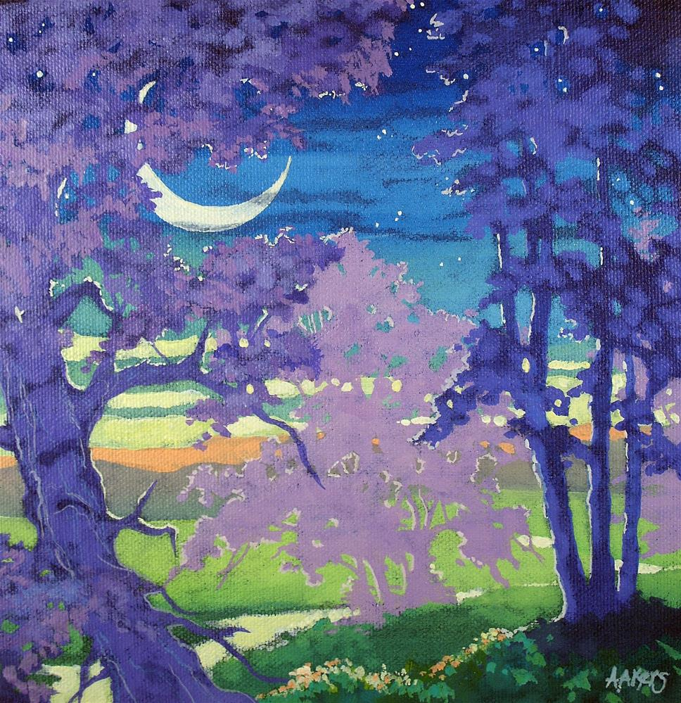 """The Fairy Boat Moon Moorcroft Musings Series"" original fine art by Alida Akers"