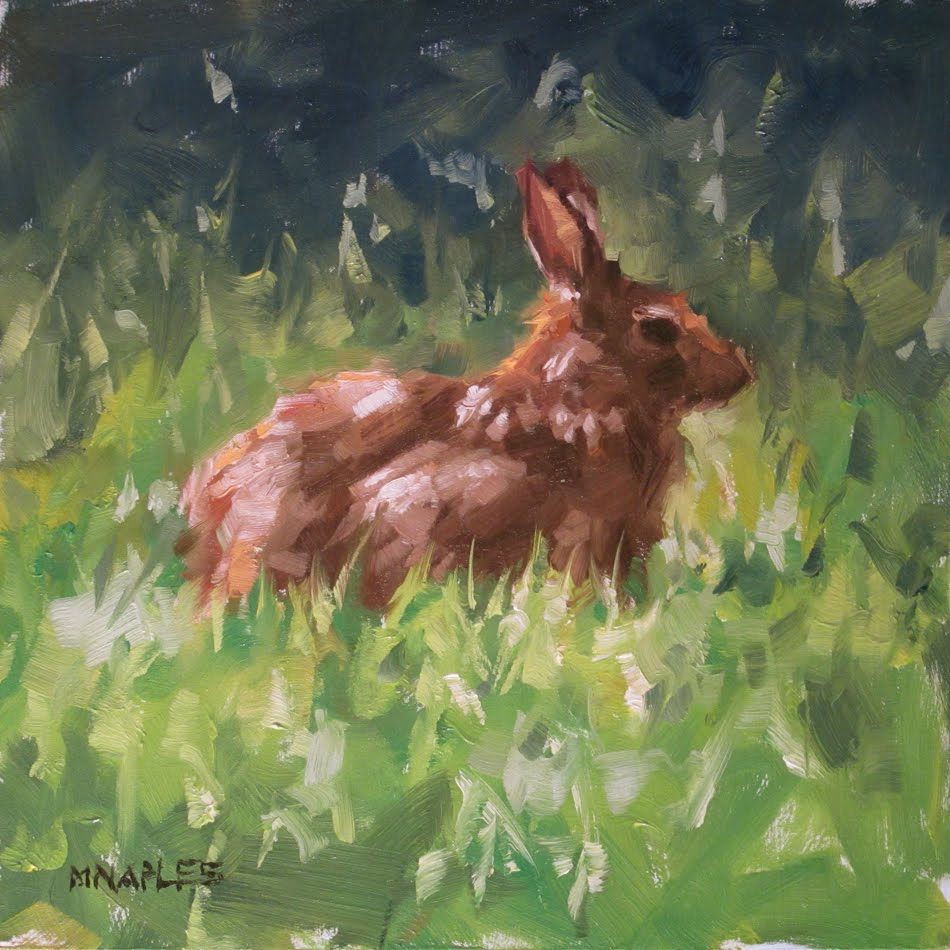 """Basking Bunny"" original fine art by Michael Naples"