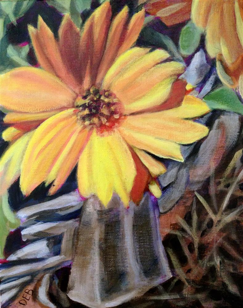 """Flower From a Pot in My Front Yard"" original fine art by Debbie Yacenda"