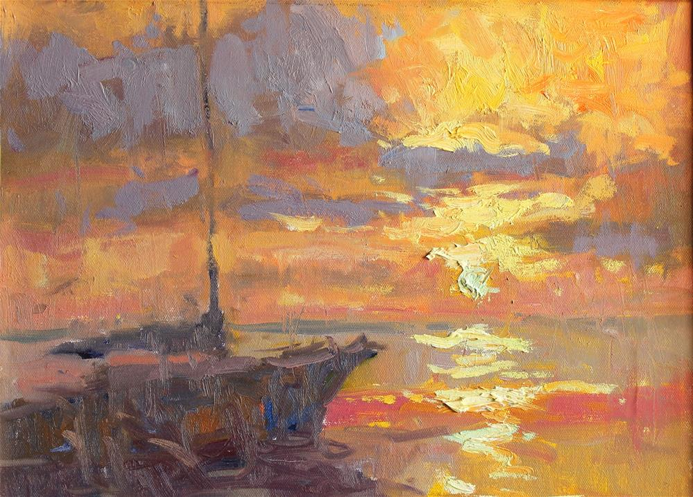 """Sunset Sail"" original fine art by Michael Clark"