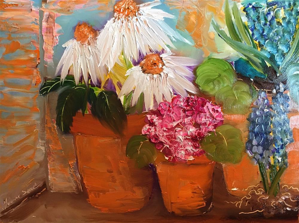 """""""Planting Pots"""" original fine art by Yvonne Snead"""