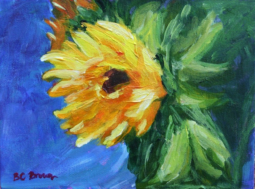 """Sunflower on Blue"" original fine art by Beth Carrington Brown"
