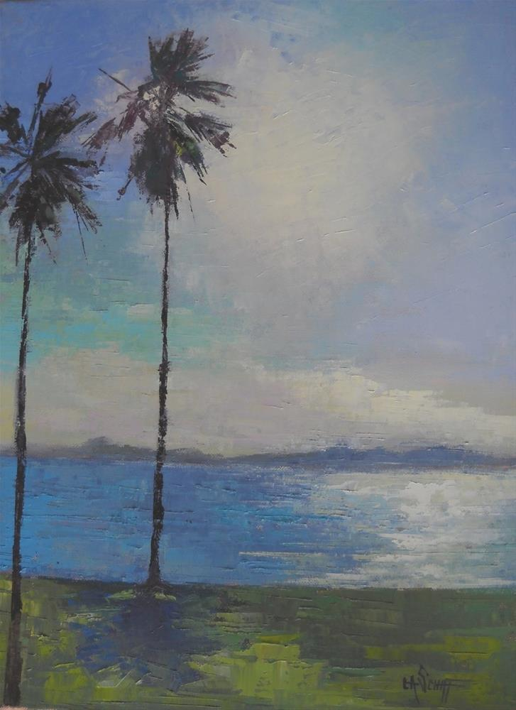 """Florida Landscape Painting, Palm Tree Painting, Twins 18x14 Oil"" original fine art by Carol Schiff"