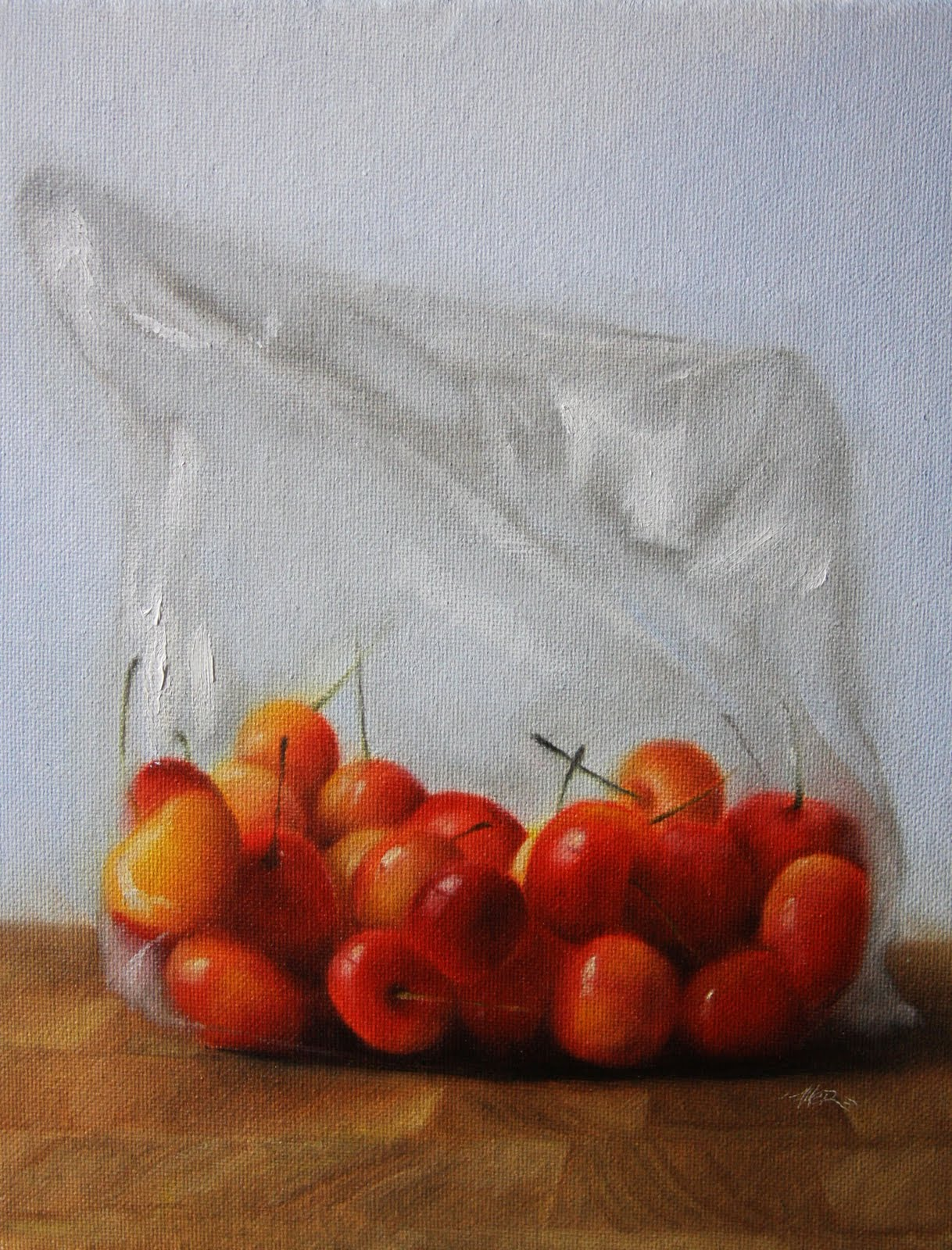 """Bagged Cherries"" original fine art by Jonathan Aller"
