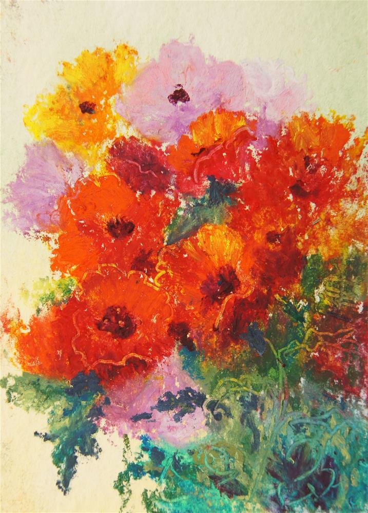 """""""Poppy Melange 3 ACEO"""" original fine art by Marion Hedger"""