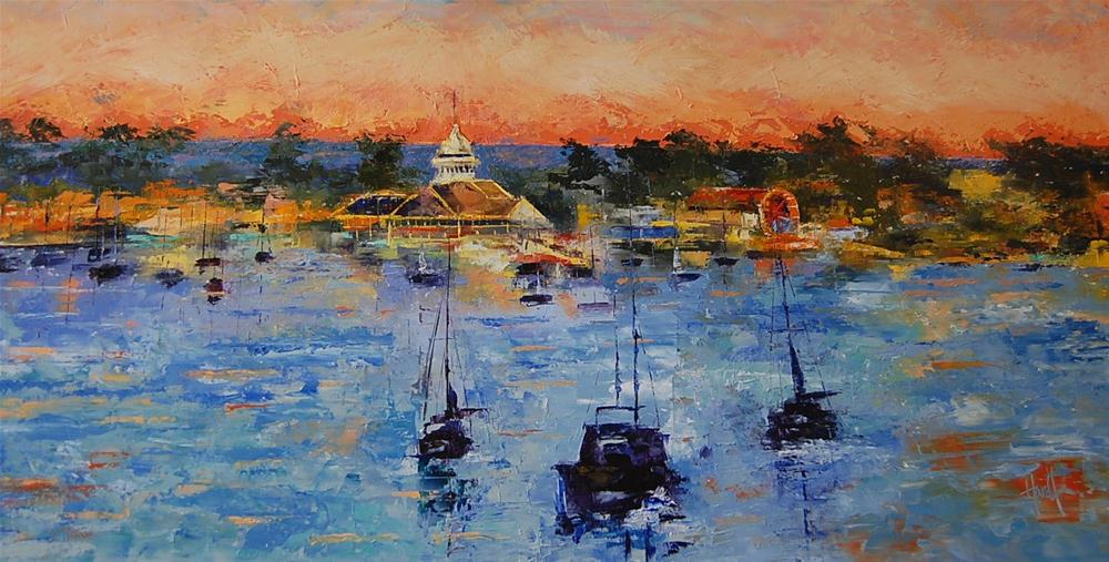 """Sunset On Balboa Island 2"" original fine art by Deborah Harold"