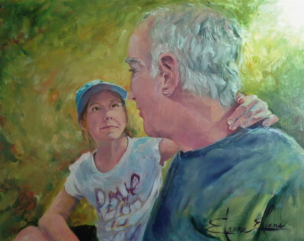 """Charlie & Grand-daughter"" original fine art by Elaine Evans"