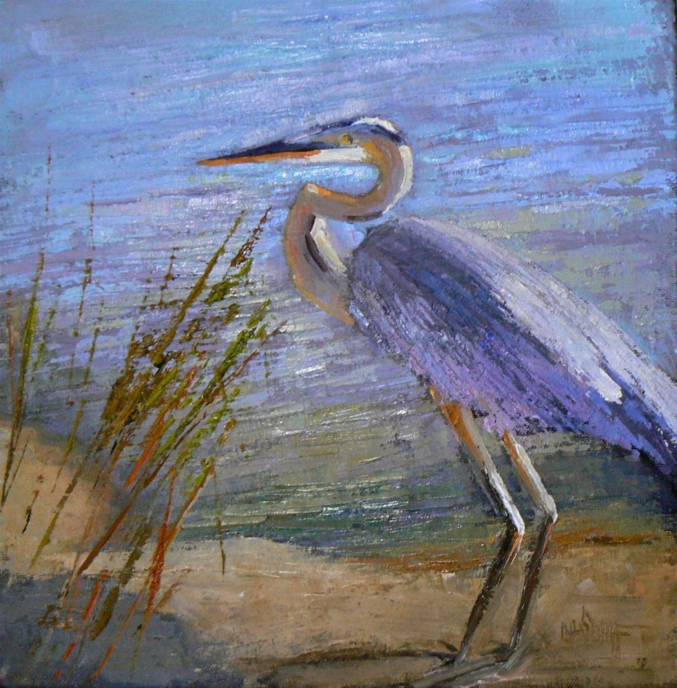 """Blue Heron 12x12, SOLD"" original fine art by Carol Schiff"