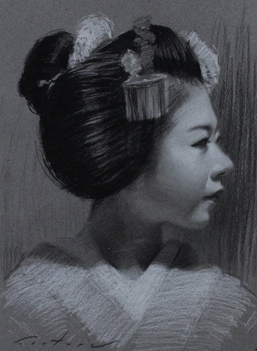 """Ryouka Charcoal Portrait"" original fine art by Phil Couture"