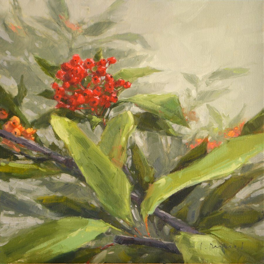 """Winter Berries - Show Tip #22"" original fine art by Laurel Daniel"