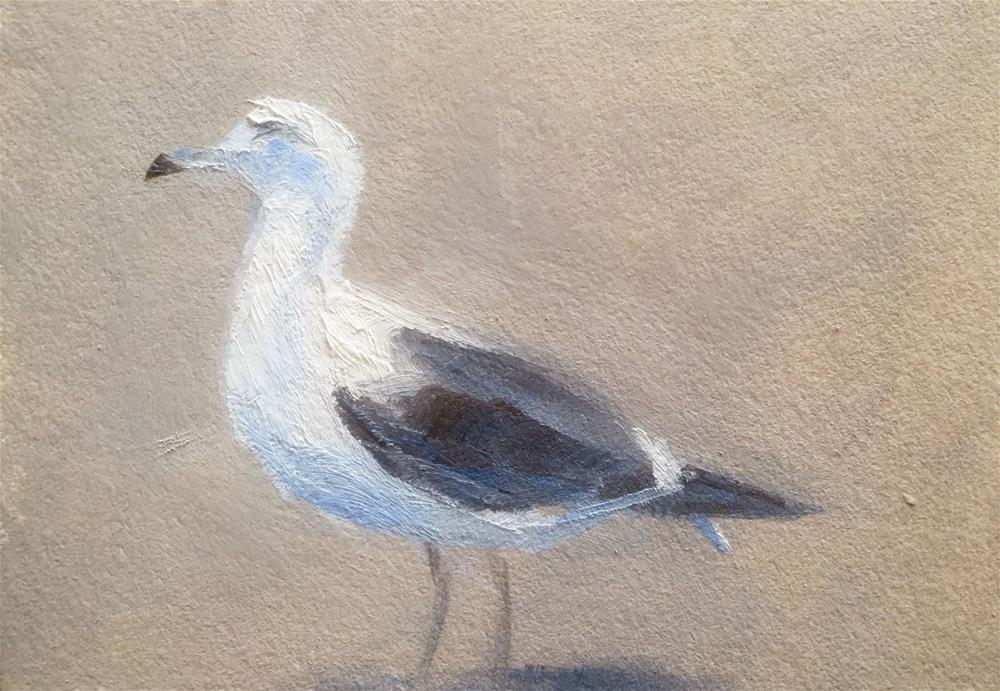 """Gull on a Parking Lot"" original fine art by Gary Bruton"