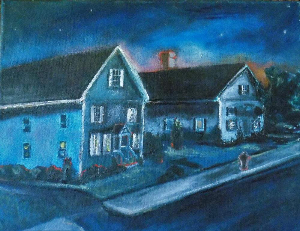 """Neighborhood at night"" original fine art by tara stephanos"