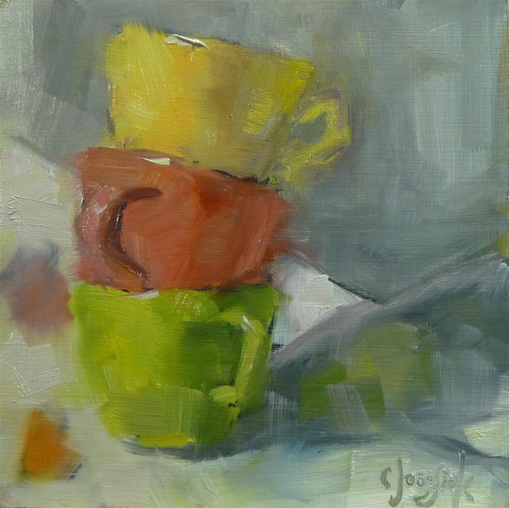 """3 Cups Brushstroke Challenge"" original fine art by Carol Josefiak"