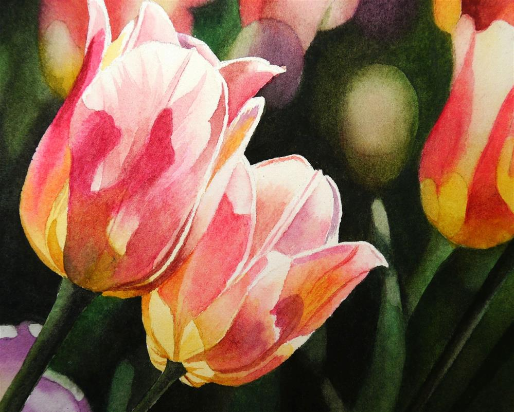 """Two Tulips"" original fine art by Jacqueline Gnott, TWSA, WHS"