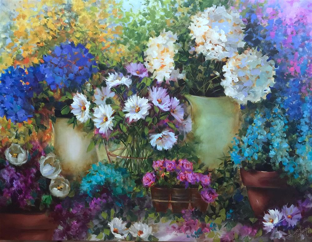 """Love Spills Over Daisies and Hydrangeas Container Garden"" original fine art by Nancy Medina"