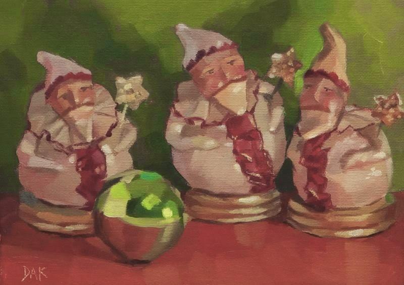 """Mischievous Santa's"" original fine art by Deborah Ann Kirkeeide"