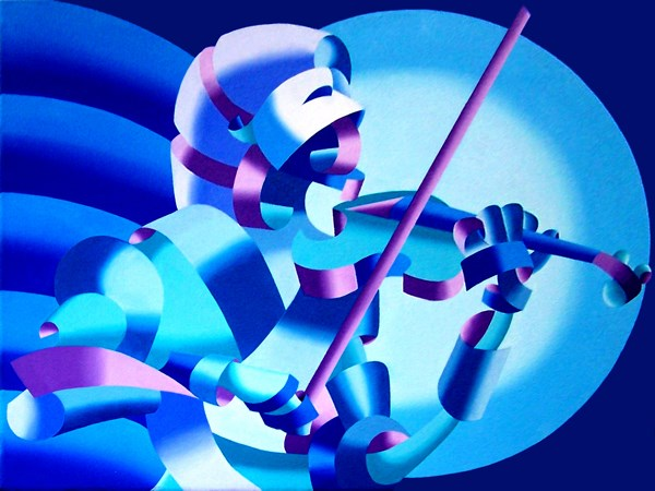 """Mark Webster Artist - The Violinist, Blue - Abstract Geometric Futurist Figurative Oil Painting"" original fine art by Mark Webster"