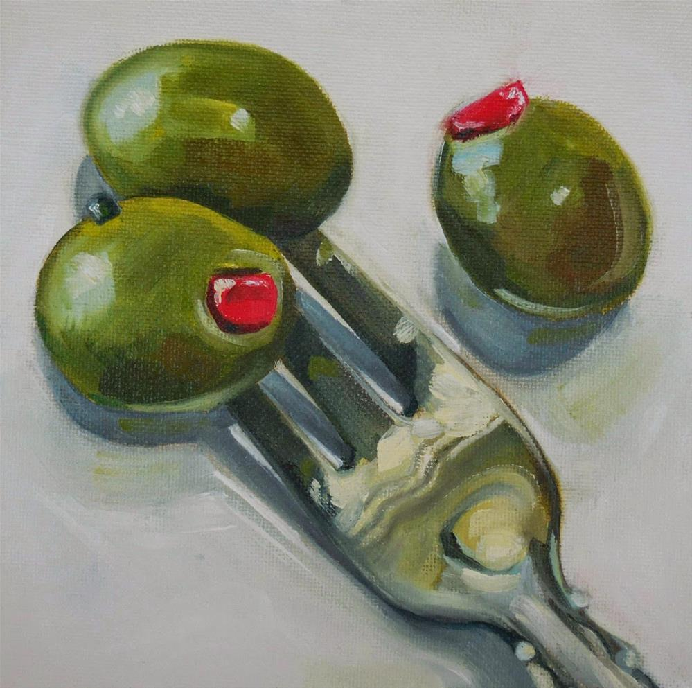 """Three Ordinary Olives"" original fine art by Beth Moreau"