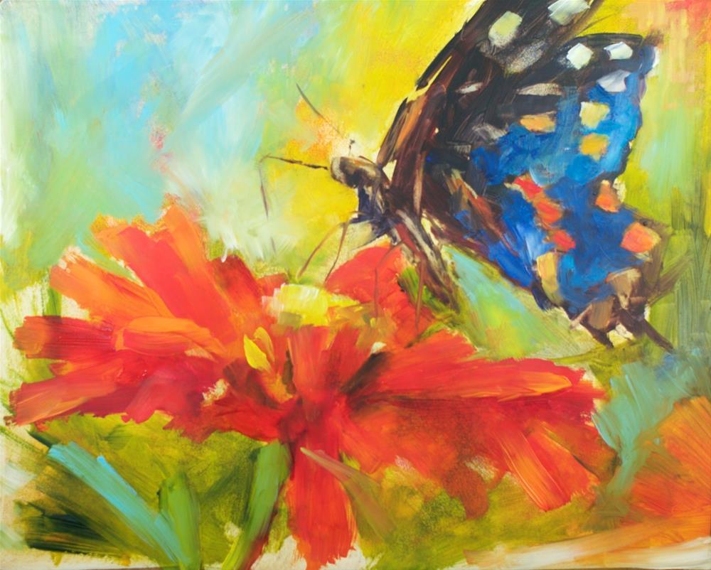 """Zinnia and Swallowtail"" original fine art by Sue Churchgrant"