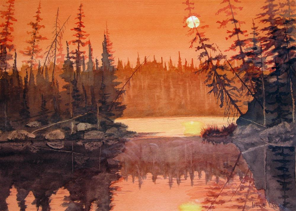 """Sunset over the Lake"" original fine art by Horst Berlow"